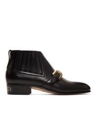 Bottines en cuir noires Gucci