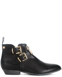 Bottines en cuir noires Love Moschino