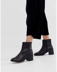 Bottines en cuir noires New Look