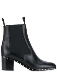 Bottines en cuir noires Valentino Garavani