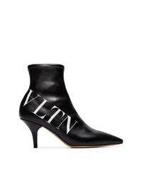 Bottines en cuir noires Valentino