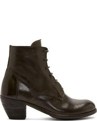 Bottines en cuir olive