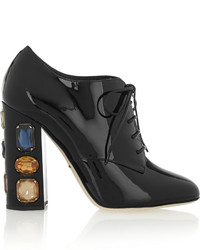 Bottines en cuir ornées noires Dolce & Gabbana