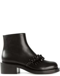 Bottines en cuir ornées noires Givenchy