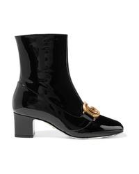 Bottines en cuir ornées noires Gucci