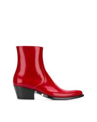 Bottines en cuir rouges Calvin Klein 205W39nyc