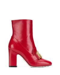 Bottines en cuir rouges Gucci