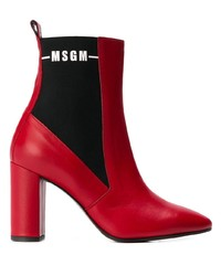 Bottines en cuir rouges MSGM