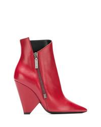 Bottines en cuir rouges Saint Laurent