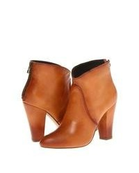 Bottines en cuir tabac