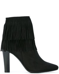 Bottines en daim à franges noires Saint Laurent