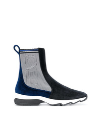 Bottines en daim bleu marine Fendi