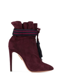 Bottines en daim bordeaux Aquazzura