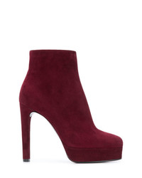 Bottines en daim bordeaux Casadei