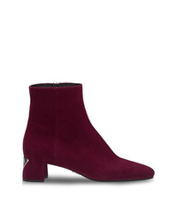 Bottines en daim bordeaux Prada