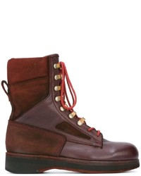 Bottines en daim bordeaux Sacai