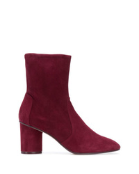 Bottines en daim bordeaux Stuart Weitzman