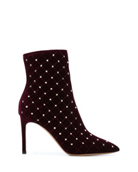 Bottines en daim bordeaux Valentino