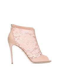 Bottines en daim découpées roses Dolce & Gabbana