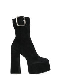Bottines en daim épaisses noires Saint Laurent