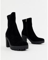 Bottines en daim épaisses noires SIMMI Shoes