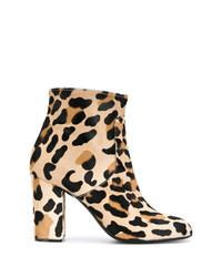 Bottines en daim imprimées léopard marron clair P.A.R.O.S.H.