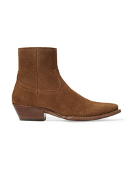 Bottines en daim marron Saint Laurent