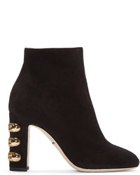 Bottines en daim noires Dolce & Gabbana