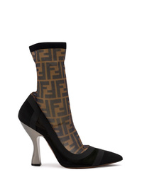 Bottines en daim noires Fendi