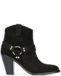 Bottines en daim noires Saint Laurent