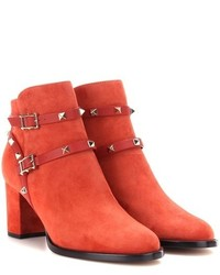 Bottines en daim orange