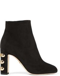Bottines en daim ornées noires Dolce & Gabbana