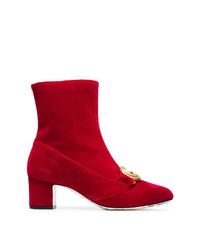 Bottines en daim rouges Gucci