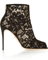 Bottines en dentelle découpées noires Dolce & Gabbana