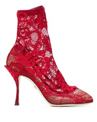 Bottines en dentelle rouges Dolce & Gabbana