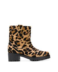 Bottines en poils de veau imprimées léopard marron clair P.A.R.O.S.H.