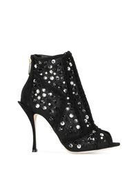 Bottines en toile découpées noires Dolce & Gabbana