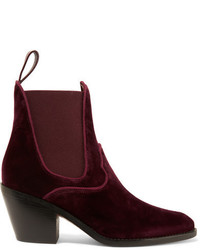 Bottines en velours bordeaux Chloé