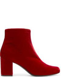 Bottines en velours rouges