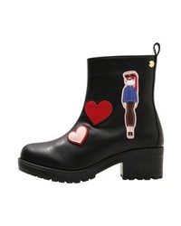 Bottines imprimées noires Moschino