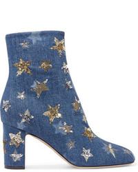 Bottines ornées bleues Valentino