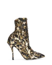 Bottines pailletées dorées Dolce & Gabbana