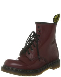Bottines plates à lacets bordeaux Dr. Martens