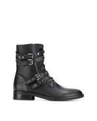 Bottines plates à lacets en cuir à clous noires Trussardi Jeans