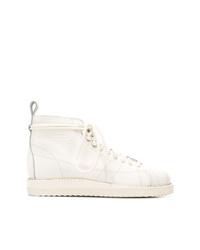 Bottines plates à lacets en cuir blanches adidas
