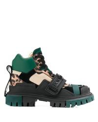 Bottines plates à lacets en cuir épaisses noires Dolce & Gabbana