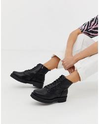 Bottines plates à lacets en cuir épaisses noires New Look