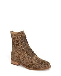 Bottines plates à lacets en cuir imprimées léopard marron