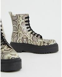 Bottines plates à lacets en cuir imprimées serpent grises ASOS DESIGN