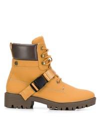 Bottines plates à lacets en cuir marron clair Kendall & Kylie